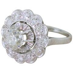 Midcentury 1.83 Carat Old Cut Diamond Platinum Cluster Ring