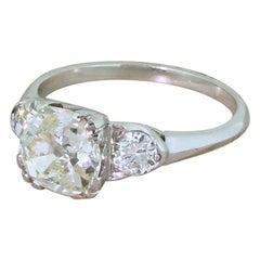 Midcentury 1.85 Carat Old Cut Diamond Engagement Ring, circa 1955
