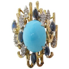Midcentury 18K Gold Platinum Turquoise Sapphire Diamond Cocktail Dinner Ring