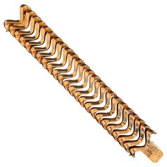 Midcentury 1940s-1950s Wide Articulated Bracelet in 18 Karat Rose Gold French