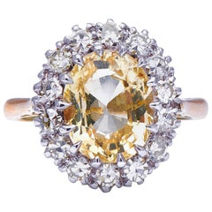 Midcentury, 1950s, 18 Carat Gold, Yellow Sapphire and Diamond Cluster Ring