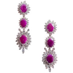 Midcentury 1950s-1960s 15 Carat Ruby 8ct Diamond Cluster Drop Earrings Platinum