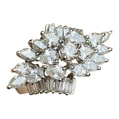 Midcentury 1950s 2.75 Carat Diamond Marquise Baguette Cluster Ring