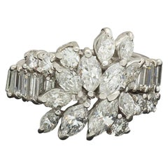 Midcentury 1950s 3 Carat Diamond Marquise Baguette Cluster Ring