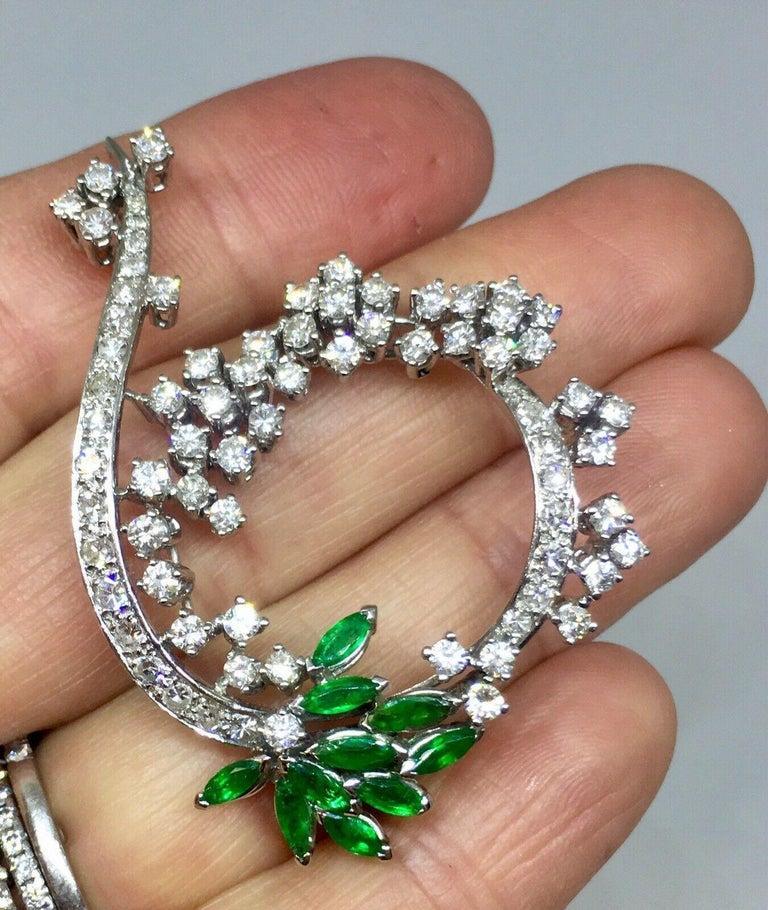 Midcentury 1950s 3.00 Carat G/H VS Diamond Emerald Pin Brooch Pendant For Sale 5