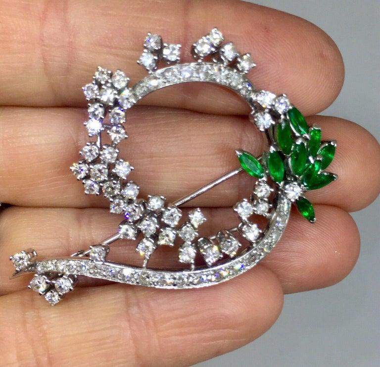 Midcentury 1950s 3.00 Carat G/H VS Diamond Emerald Pin Brooch Pendant For Sale 3