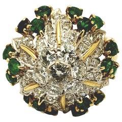 Midcentury 1950s Cocktail Emerald Diamond 18 Karat Dome Ring
