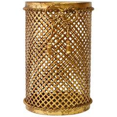 Mid-Century 1950s Hollywood Regency Italian Gold Gilded Waste Paper Basket