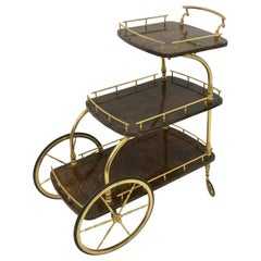 Midcentury 1950s Italian Brown Lacquered Goatskin Trolley by Aldo Tura