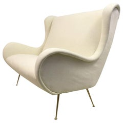 Midcentury 1950s Italian Two-Seat Sofa on Brass Legs