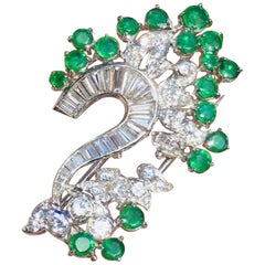 Midcentury 1950s Platinum 3.25 Carat VS Diamond Emerald Pin Brooch