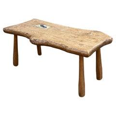 Midcentury, 1950s Rustic Handmade Oak Wooden Coffee Table with Woodpecker Tile