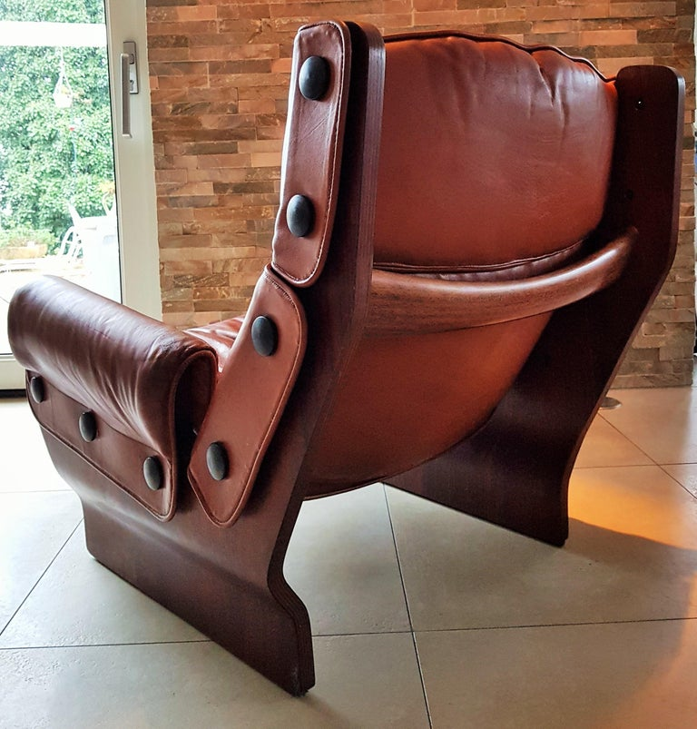 Leather Midcentury 1960s 'Canada' Chair Borsani for Tecno For Sale