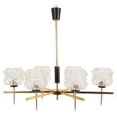 Midcentury 1960s French Brass Glass 6-Arm Pendant Chandelier Dining Room