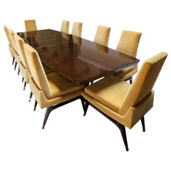 Midcentury 1960s Mahogany Dining Table and Chairs by Arturo Pani, Brass Inlay