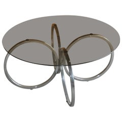 Midcentury 1960s Retro Tubular Chrome Smokey Glass Round Coffee Table