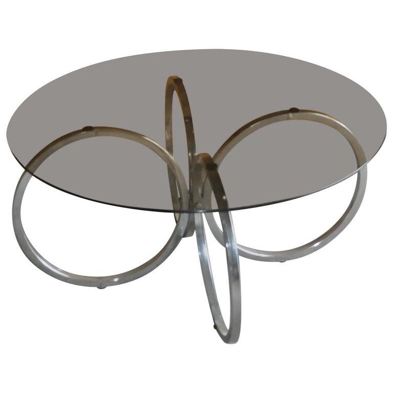 Tubular Chrome Coffee Table: Midcentury 1960s Retro Tubular Chrome Smokey Glass Round