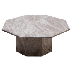 Midcentury 1970s Octagonal Pink and Grey Marble Italian Coffee Table