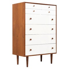 Midcentury 2-Tone Lacquered and Walnut Chest of Drawers for Glenn of California