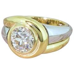 Midcentury 2.04 Carat Old European Cut Diamond Solitaire Ring