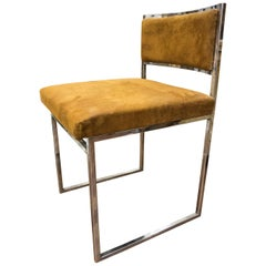 Midcentury 20th Century Chrome Steel and New Upholsterery Romeo Rega Italy Chair