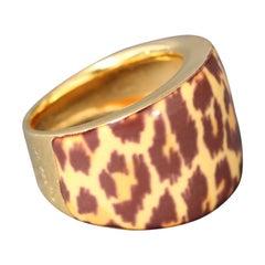 Midcentury 21-Carat Gold Enameled Leopard Print Ring