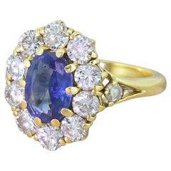 Midcentury 2.18 Carat Sapphire and 1.94 Carat Diamond Cluster Ring