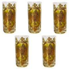 Midcentury 22-Karat Gold and Green Tall Cocktail Glassware by Culver, Set of 5