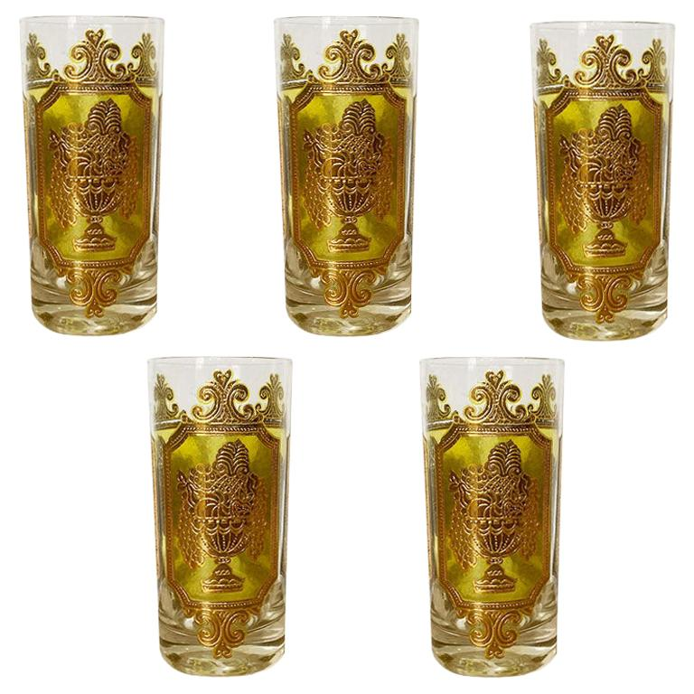 Midcentury 22-Karat Gold and Green Tall Cocktail Glassware by Culver, Set of 5 For Sale