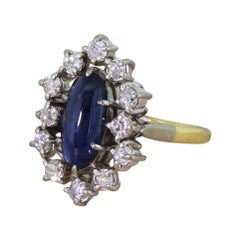 Midcentury 2.20 Carat Cabochon Sapphire and Old Cut Diamond Ring