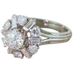 Midcentury 2.24 Old Cut Diamond Platinum Cluster Ring