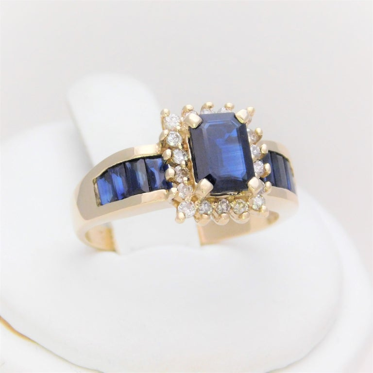 Emerald Cut Midcentury 2.25 Carat Blue Sapphire and Diamond Cocktail Ring For Sale