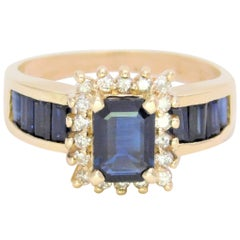 Midcentury 2.25 Carat Blue Sapphire and Diamond Cocktail Ring