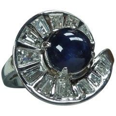 Midcentury 2.57 Carat Sapphire Piano Key Cocktail Ring