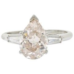 Midcentury 2.77 Carat Fancy Light Pinkish Brown Pear Diamond Platinum Ring