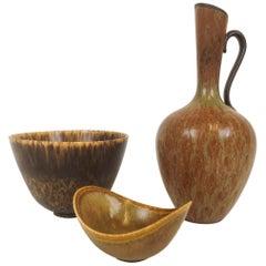 Midcentury 3 Ceramic Pieces Rörstrand Gunnar Nylund, Sweden