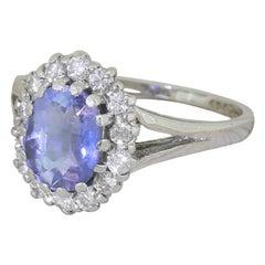 Midcentury 3.12 Carat Natural Ceylon Sapphire and Diamond Ring