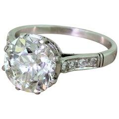 Midcentury 3.14 Carat Old Cut Diamond Engagement Ring