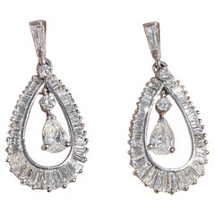 Midcentury 3.75 Carat Baguette Pear Diamond Pendant Dangle Earrings
