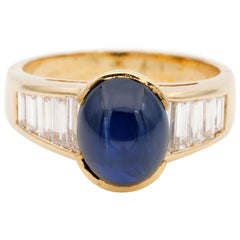 Midcentury 3.80 Carat Natural Untreated Sapphire 1.0 Carat G Diamond Ring