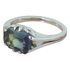 Midcentury 3.85 Carat Greenish Blue Sapphire 18 Karat Gold Solitaire Ring