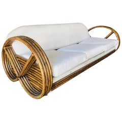 Midcentury 4 Strand Round Pretzel Sleeper Sofa with Pullout Bed