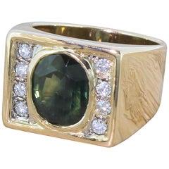Midcentury 4.14 Carat Green Sapphire and Diamond Ring