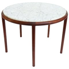Midcentury 5-Legged Walnut and Marble Side Table