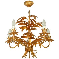 Midcentury 5-Light Gilt Palm Leaf Chandelier by Hans Kögl, 1970s