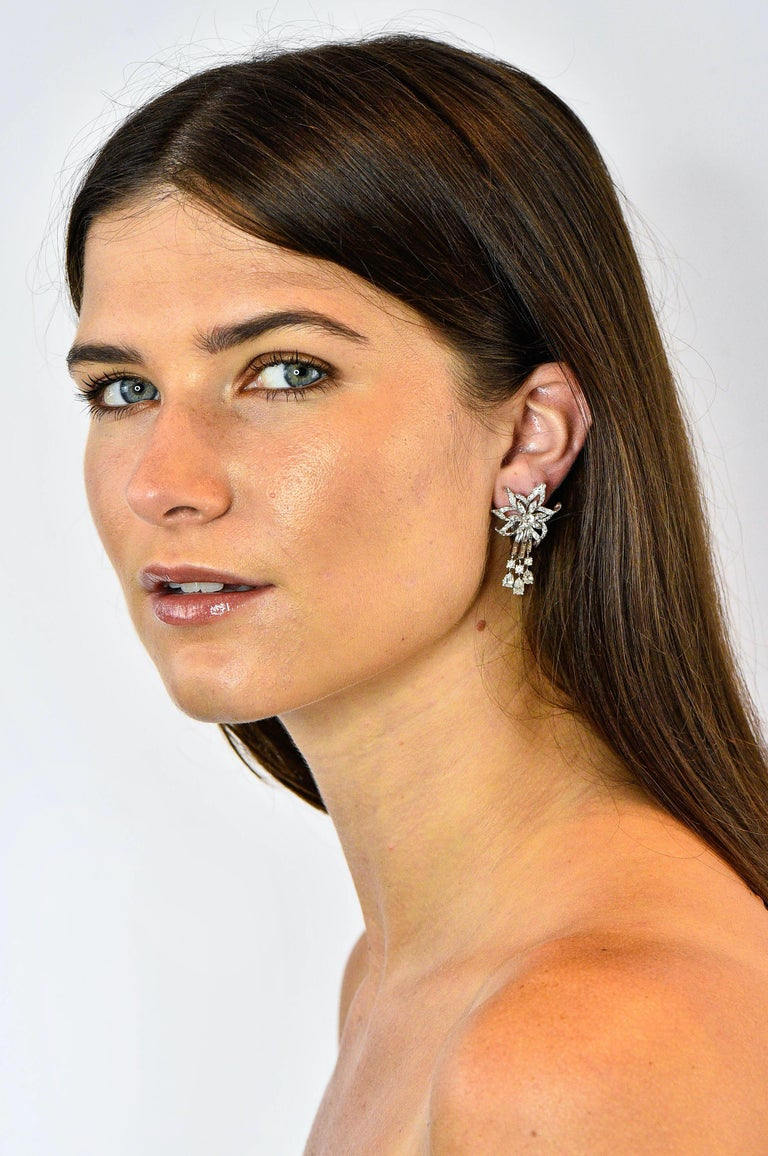 Midcentury 5.08 Carat Diamond Platinum Dynamic Flower Ear-Clip Earrings 1