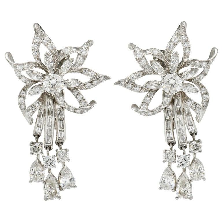 Midcentury 5.08 Carat Diamond Platinum Dynamic Flower Ear-Clip Earrings