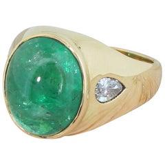 Midcentury 7.10 Carat Cabochon Emerald and Pear Cut Diamond Ring