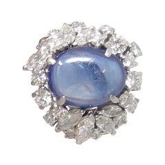 Midcentury 8 Carat Natural Star Sapphire F/VS Diamond Platinum Cocktail Ring
