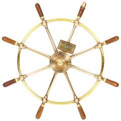 Midcentury 8-Spoke Brass and Walnut Ships Wheel HMS Whitby Brown Bros
